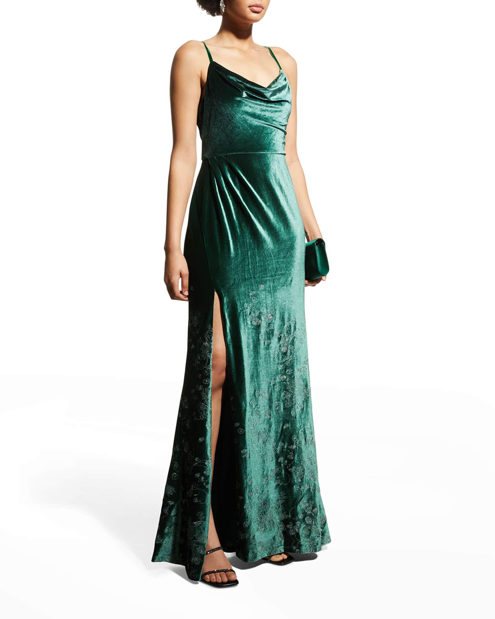 MARCHESA NOTTE Sage Green Cowl-Neck Embroidered Velvet Gown