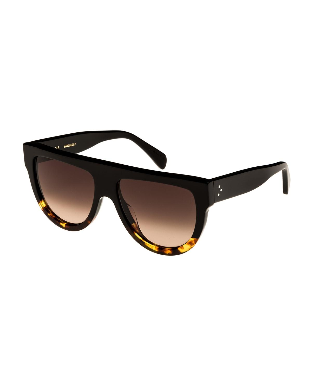 Flattop Two-Tone Shield Sunglasses