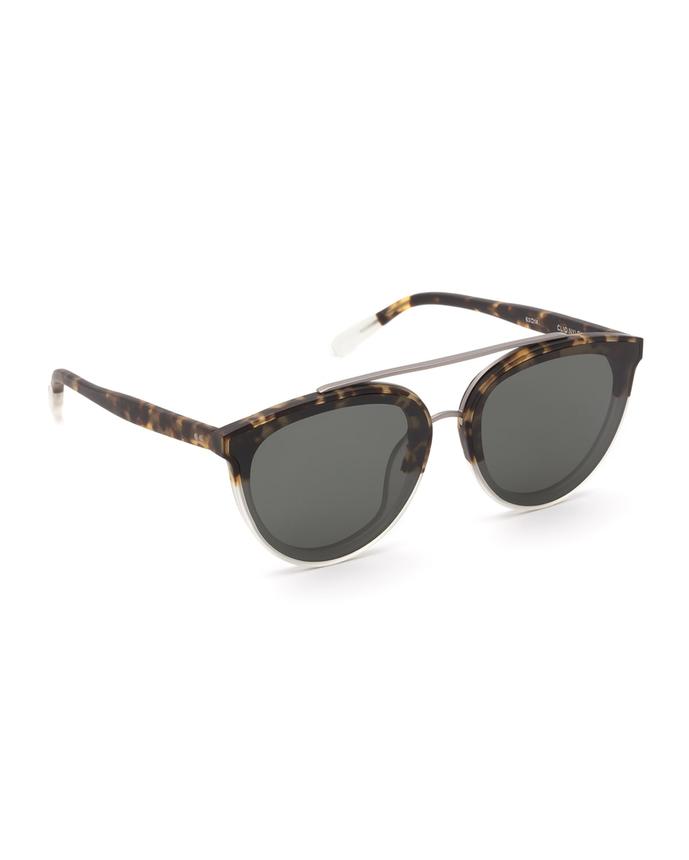 Clio Oval Acetate Sunglasses w/ Overlay Nylon Lenses